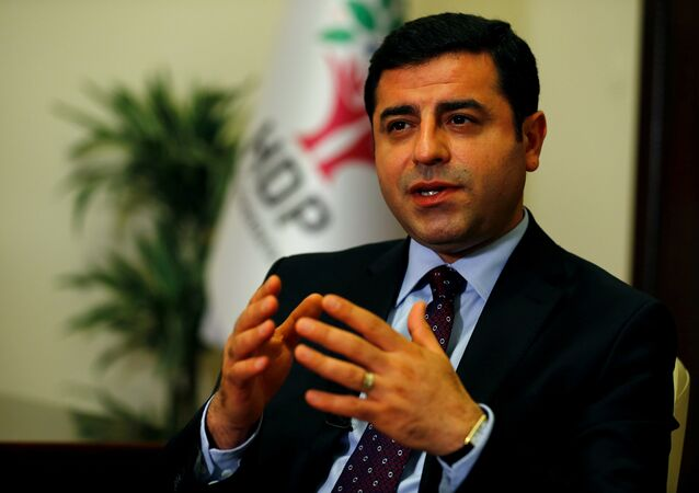 The leader of Turkey's pro-Kurdish opposition Peoples' Democratic Party (HDP) Selahattin Demirtas (File)