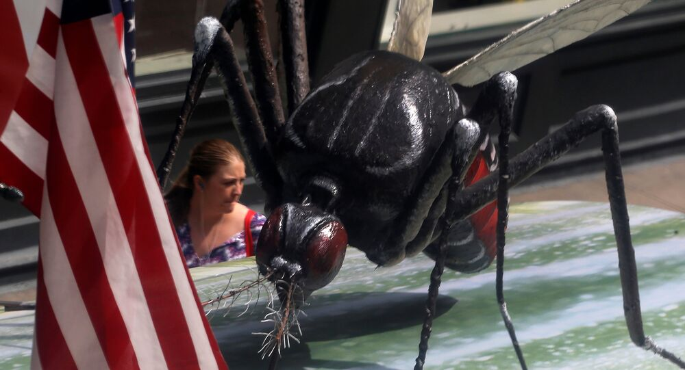 A woman walks past a giant fake mosquito placed on top of a bus shelter as part of an awareness campaign about the Zika virus in Chicago, Illinois, United States, May 16, 2016