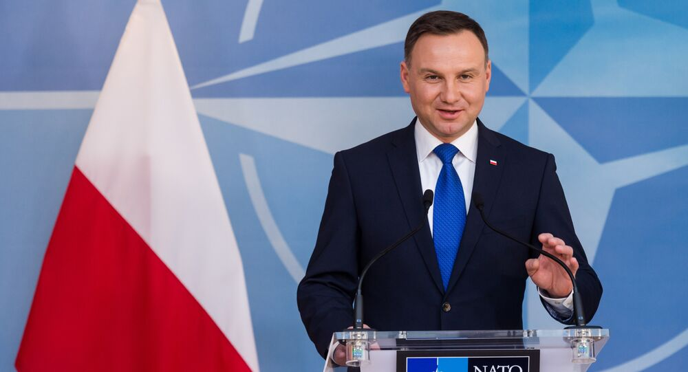 Polish President Andrzej Duda addresses the media at NATO headquarters in Brussels on Monday, Jan. 18, 2016