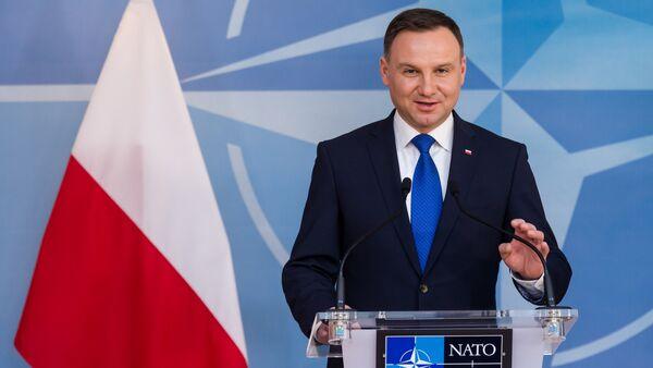 Polish President Andrzej Duda addresses the media at NATO headquarters in Brussels on Monday, Jan. 18, 2016 - Sputnik International