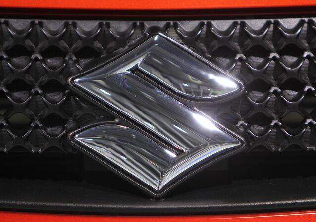 The logo of carmaker Suzuki is seen during the international motor show IAA (Internationale Automobil-Ausstellung) in Frankfurt/M, western Germany, on September 14, 2011