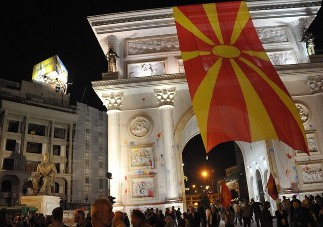 Opposition protesters in the center of the Macedonian capital, Skopje