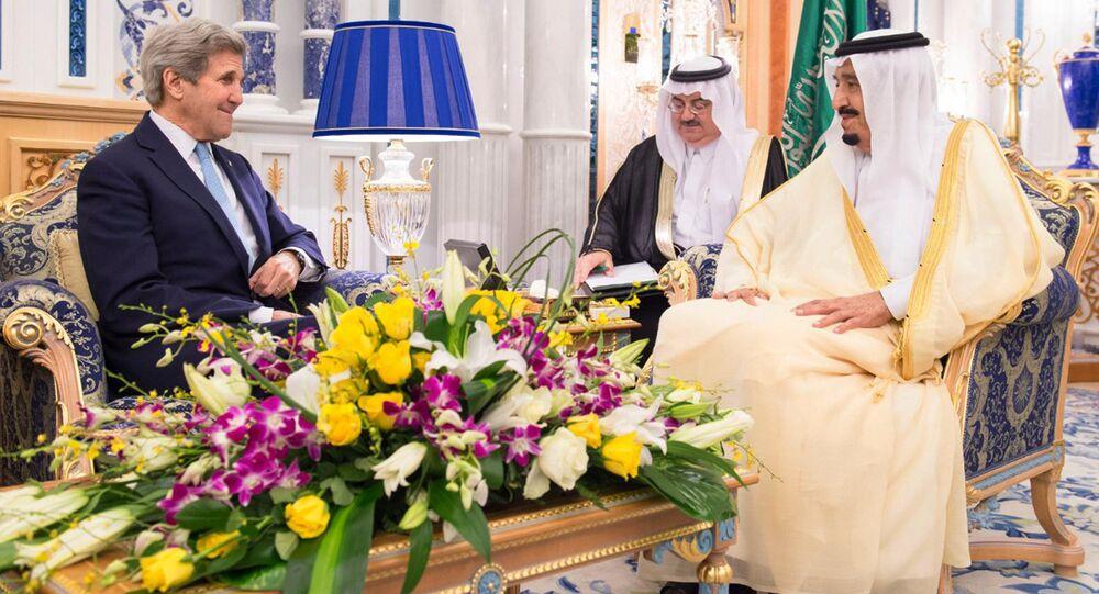 In this May 15, 2016 photo released by the Saudi Press Agency, SPA, Saudi Arabia King Salman bin Abdul Aziz, right, meets with U.S. Secretary of State John Kerry in Jiddah, Saudi Arabia
