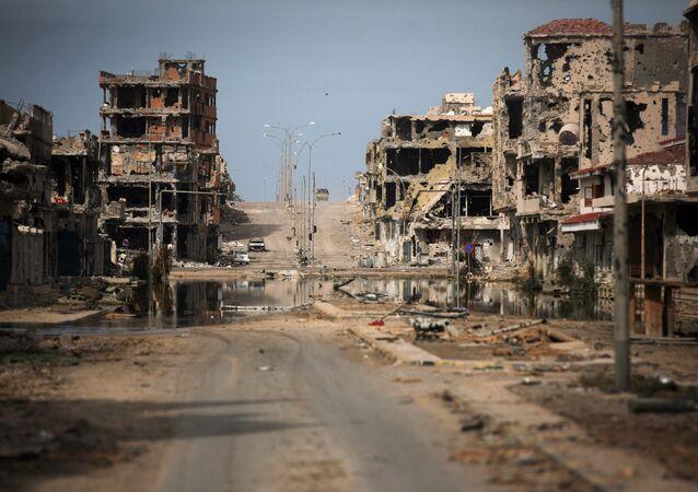 General view of buildings ravaged by fighting in Sirte, Libya (File)
