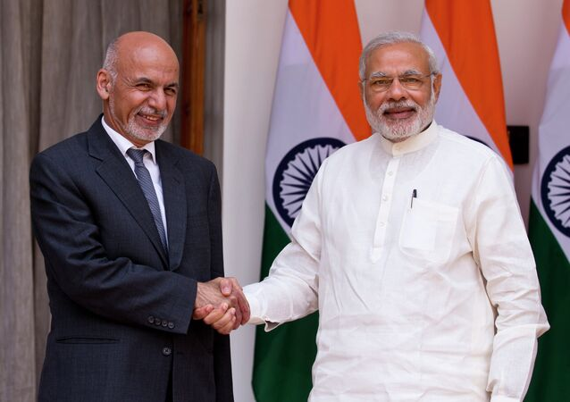 Indian Prime Minister Narendra Modi and  Afghan President Mohammad Ashraf Ghani