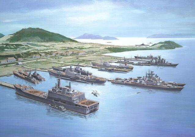Cam Ranh Bay with Soviet Fleet, artist's rendering from 1985