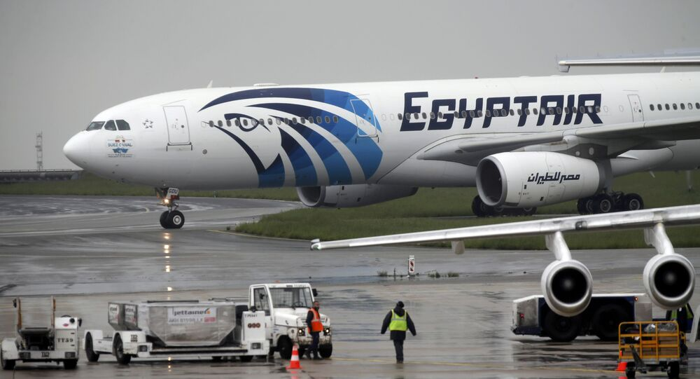 The EgyptAir plane assuring the following flight from Paris to Cairo, after flight MS804 disappeared from radar, taxies on the tarmac at Charles de Gaulle airport in Paris, France, May 19, 2016