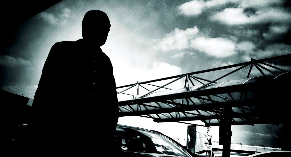 Silhouette of a man at Berlin Tegel Airport