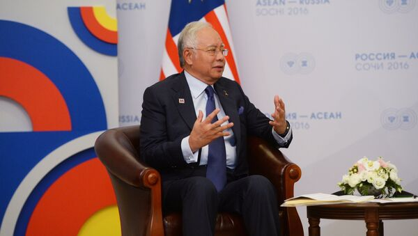 19 May 2016. Prime Minister of Malaysia Najib Tun Razak during a bilateral meeting with Russian President Vladimir Putin at Radisson Blu Resort & Congress Centre in Sochi - Sputnik International