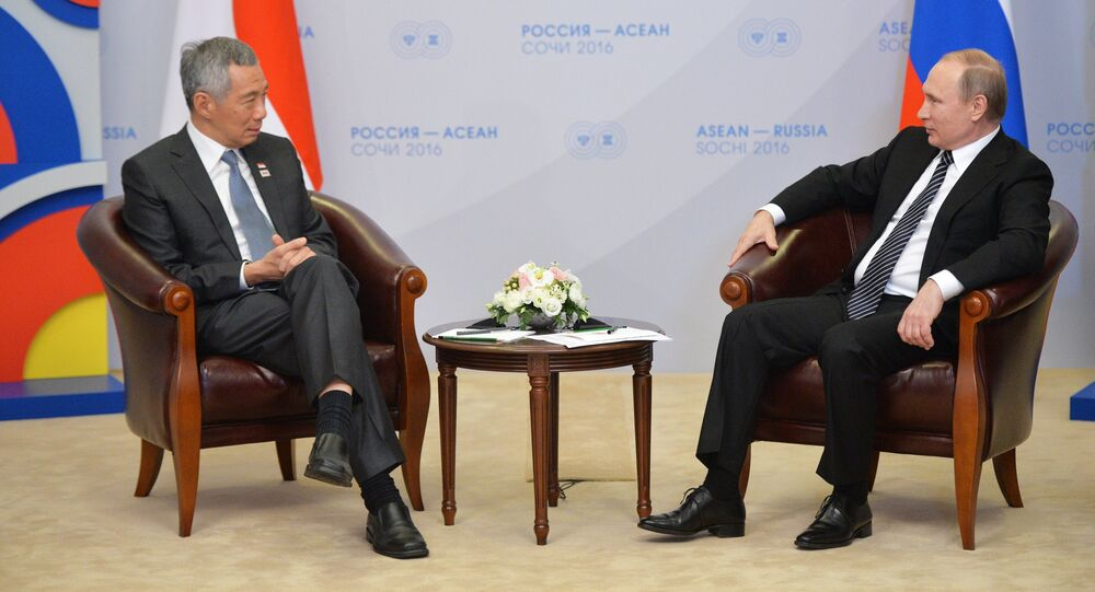 9 May 2016. Russian President Vladimir Putin, right, and Prime Minister of the Republic of Singapore Lee Hsien Loong during a bilateral meeting at Radisson Blu Resort & Congress Centre in Sochi held as part of the ASEAN-Russia Summit