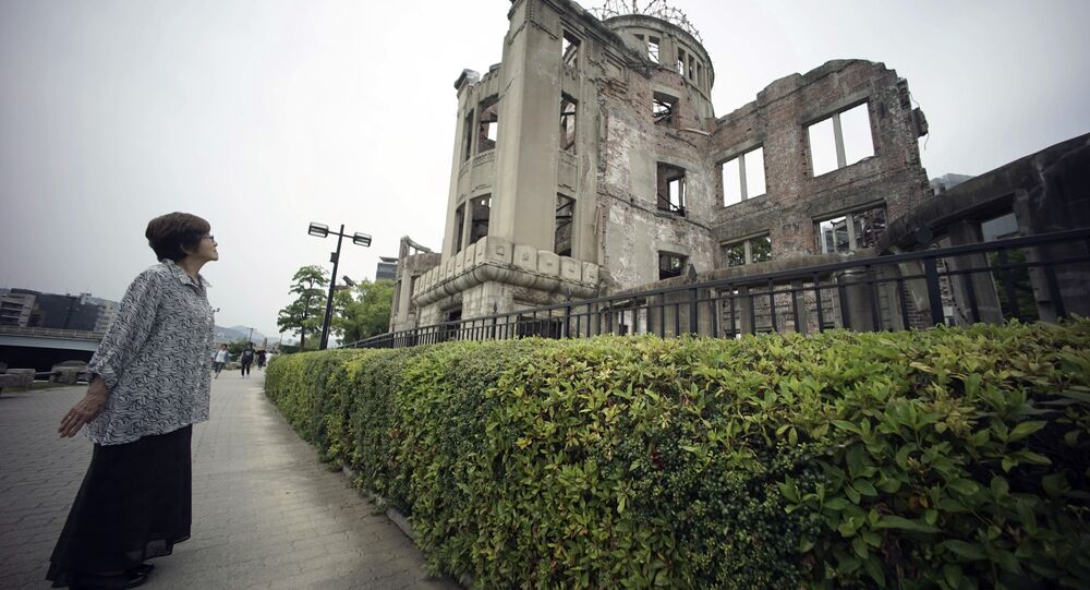 Kimie Mihara, a survivor of the 1945 atomic bombing, looks at the Atomic Bomb Dome, as it is known today in Hiroshima.