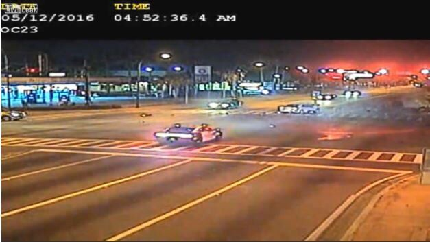 Cop Crashes While Crossing Intersection At 90 MPH
