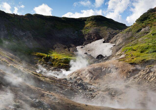 Dachnye hot springs in Kamchatka.