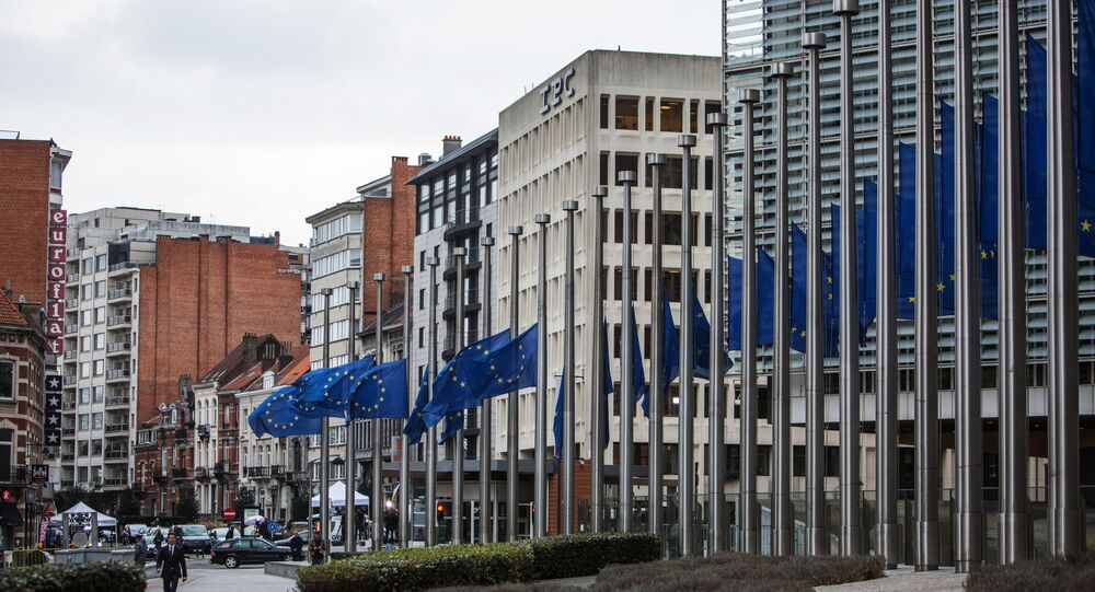 Flags near the European Commission's headquarters in Brussels