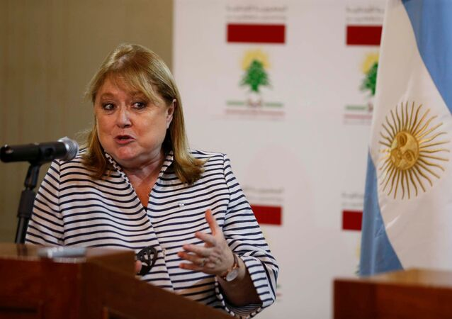 Argentinean Foreign Minister Susana Malcorra speaks during a joint news conference with Lebanon's Foreign Minister Gebran Bassil (not in picture) in Beirut, Lebanon May 16, 2016.