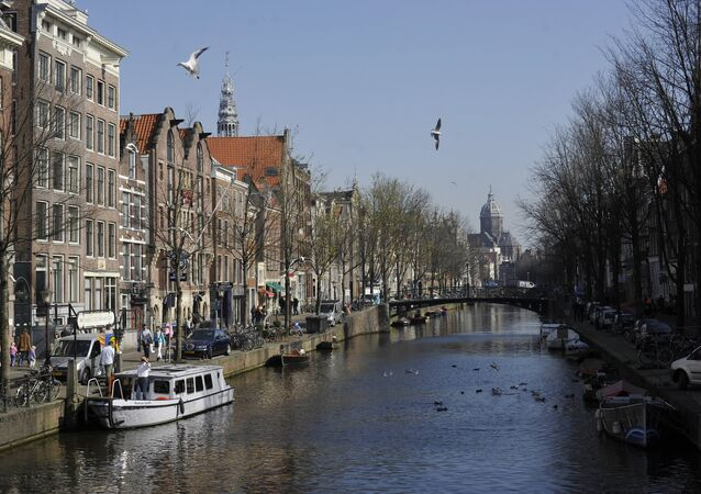 One of the canals in Amsterdam.