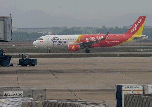 A VietJet Air plane taxies on Hanoi's Noi Bai International airport