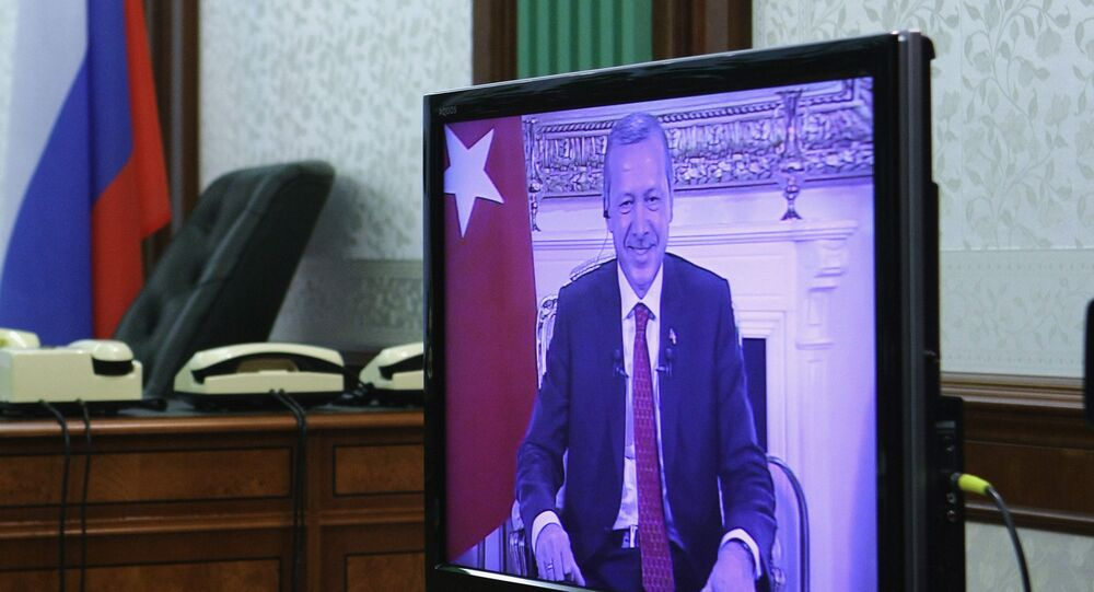 Recep Tayyip Erdogan seen on a screen during a teleconference (File)