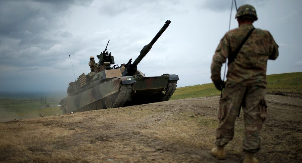 U.S. M1A2 Abrams tank moves to firing positions during U.S. led joint military exercise Noble Partner 2016 near Vaziani, Georgia, May 18, 2016