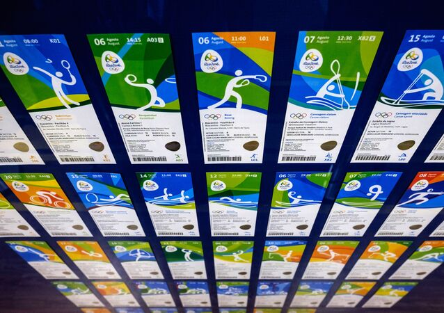 View of tickets for the Rio 2016 Olympic and Paralympic games as their design is revealed in Rio de Janeiro, Brazil, on May 20, 2016