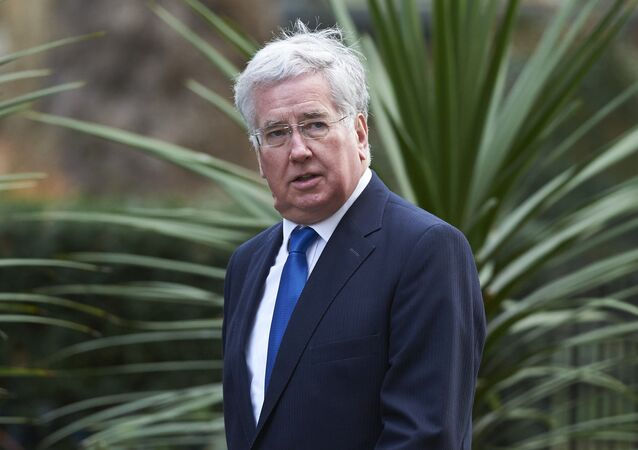 British Defence Secretary Michael Fallon arrives at Downing Street.