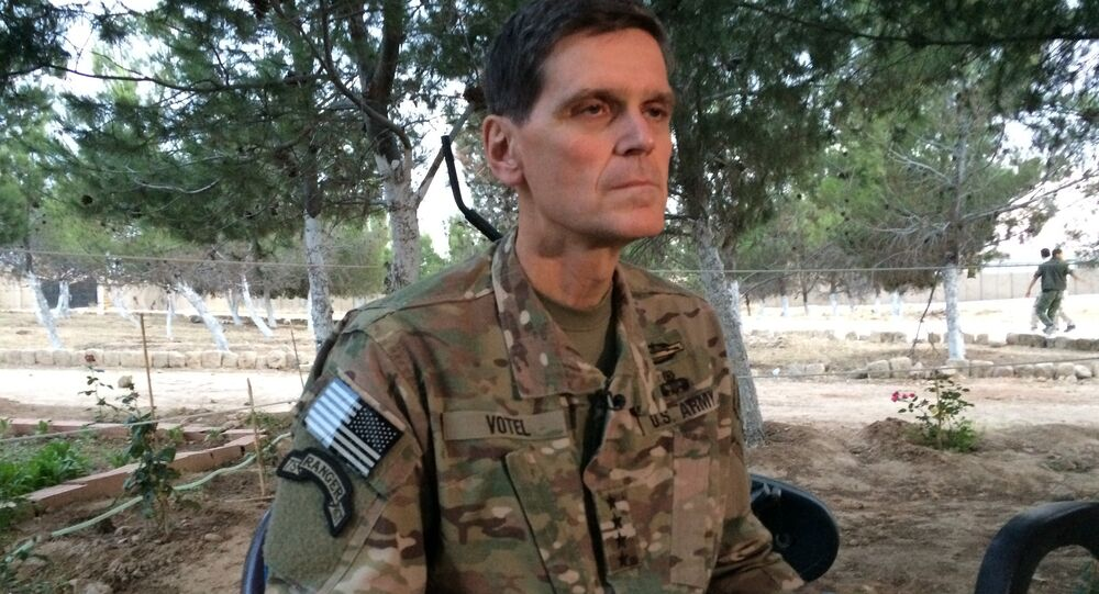 Army Gen. Joseph Votel speaks to reporters Saturday, May 21, 2016 during a secret trip to Syria