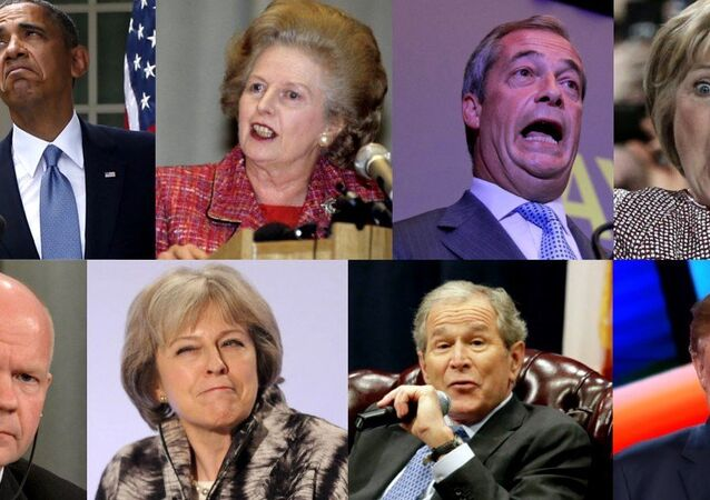 A collage of US and British politicians