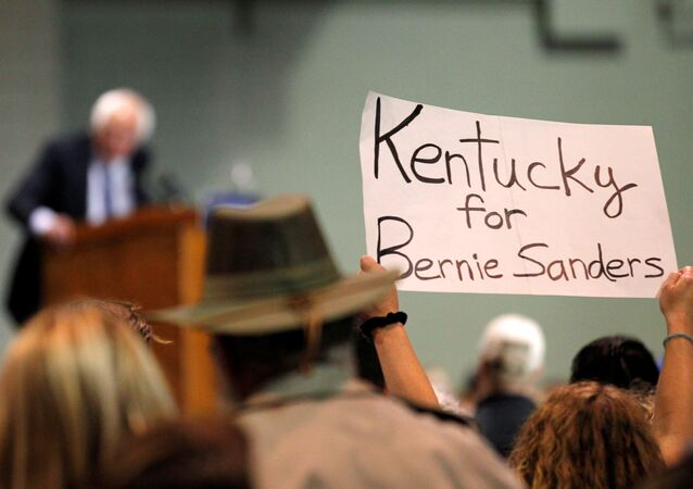 Democratic presidential candidate Bernie Sanders addresses the crowd during a campaign rally at Heritage Hall in Lexington, Kentucky, U.S. May 4, 2016