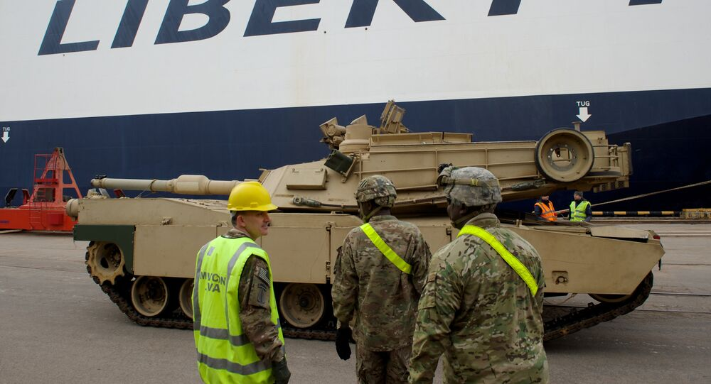 An Abrams tank is seen during delivery(File)