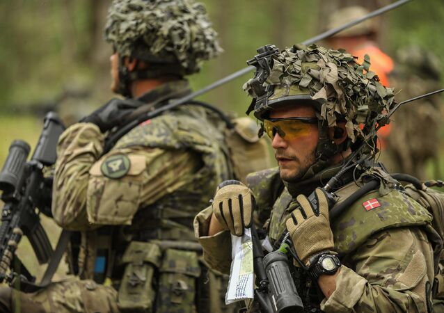 A soldier of the Royal Danish Army talks on the radio