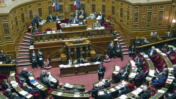 French prime Minister Manuel Valls, standing, speaks to lawmakers of the French Senate, in Paris, Friday, Nov. 20, 2015 - Sputnik International
