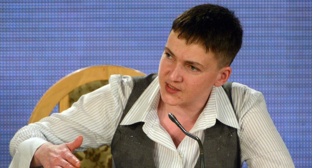 Ukrainian army pilot Nadezhda Savchenko at a news conference in Kiev