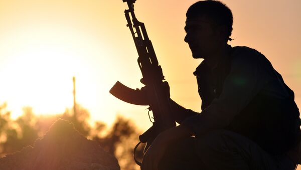 A fighter from the Kurdish People Protection Unit (YPG) poses for a photo at sunset in the Syrian town of Ain Issi, some 50 kilometres north of Raqqa, the self-proclaimed capital of the Islamic State (IS) group during clashes between IS group jihadists and YPG fighters on July 10, 2015 - Sputnik International