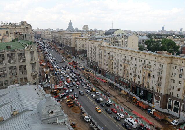Tverskaya Street in Moscow undergoes reconstruction