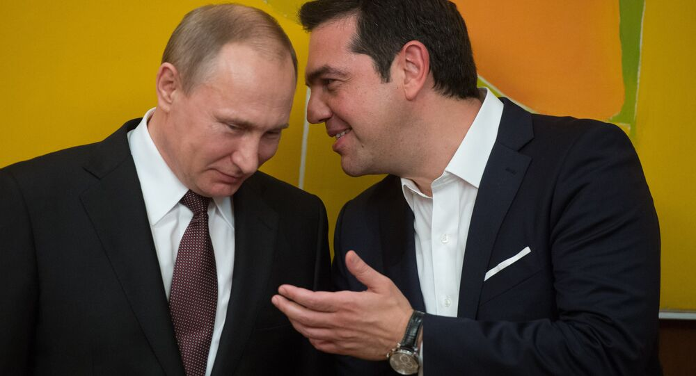 May 27, 2016. Russian President Vladimir Putin and Greek Prime Minister Alexis Tsipras following Russian-Greek talks in Athens.