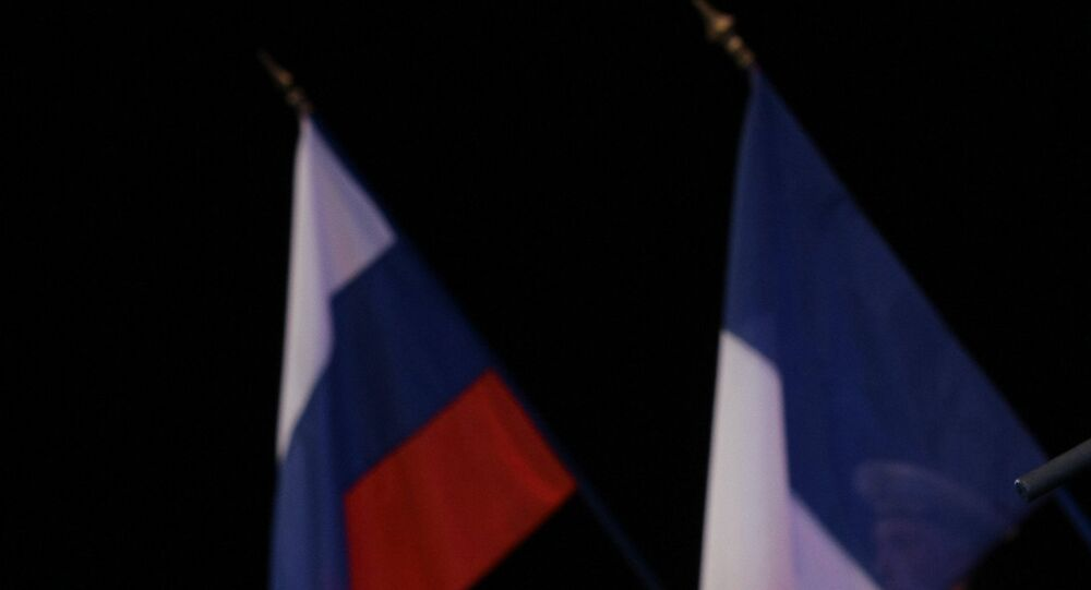 Russian and French flags