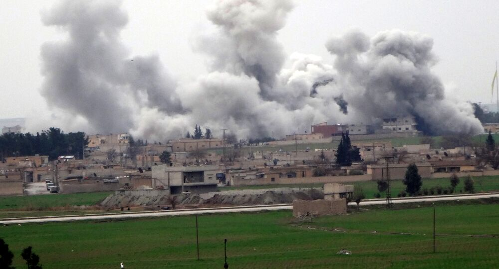 Smoke rising from the neightbourhood of Syrian city Tel Abyad during clashes between Daesh and People's Protection Units (YPG)