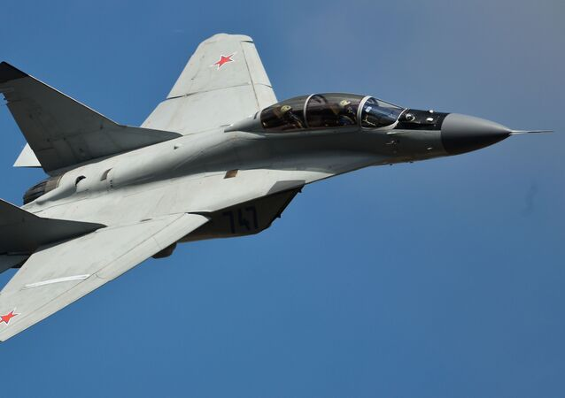 An MiG-35 jet performs a demo flight at the MAKS 2015 International Aviation and Space Salon in Zhukovsky outside Moscow.