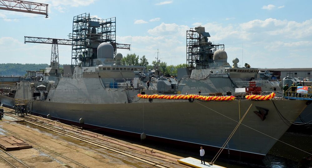The official christening ceremony of the Project 1166 Gepard 3.9/Dinh Tien Hoang-class light frigate, produced for the Vietnamese Navy, takes place in the Russian Republic of Tatarstan.
