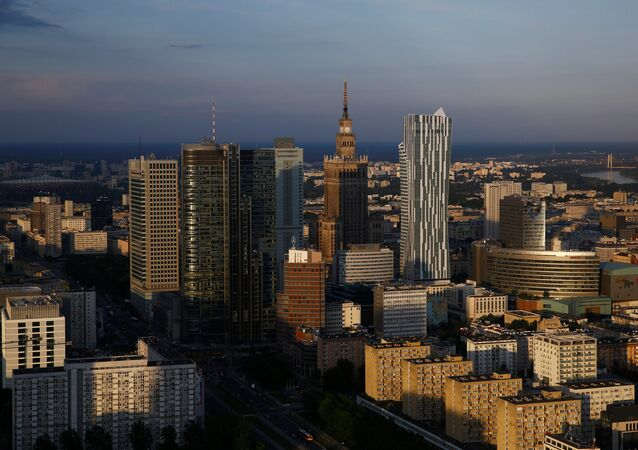 A view of the Palace of Culture and Science is pictured from the newly-opened Warsaw Spire skyscraper in Warsaw, Poland