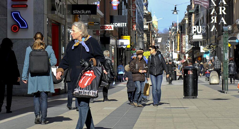 People walking on Drottninggatan Street in central Stockholm