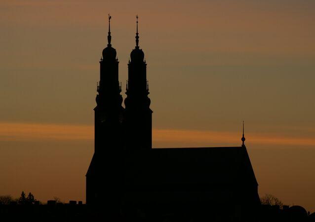 The silhouette of Högalidskyrkan, near Hornstull, Stockholm, Sweden