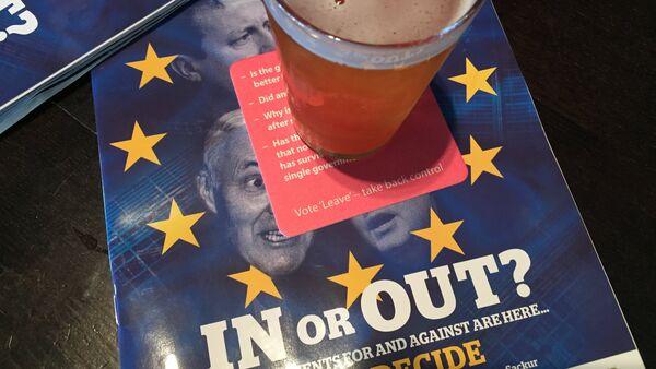 Brexit themed beermats and magazines in JD Wetherspoon's pub, Edinburgh, Scotland. - Sputnik International