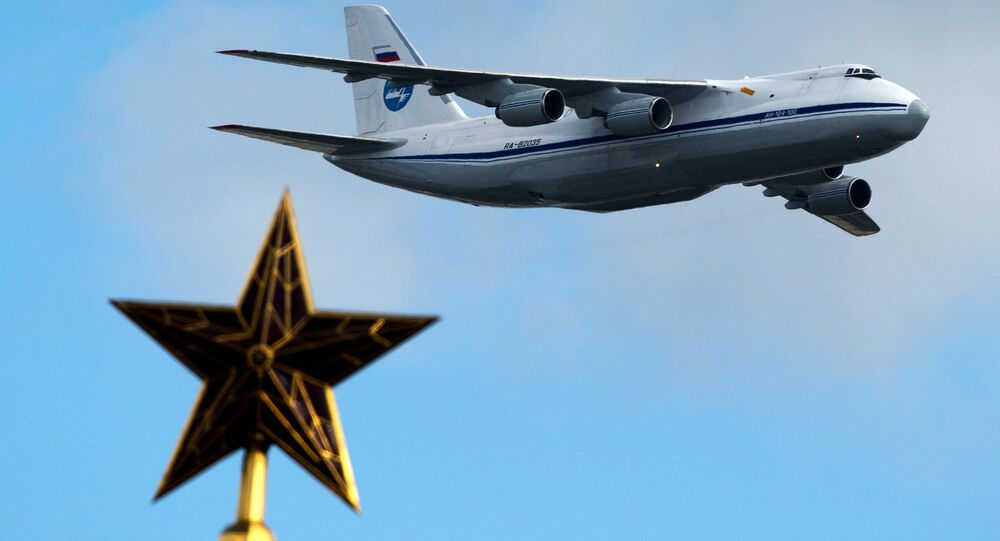An-124 aircraft during a rehearsal for the Victory Parade's air show in Moscow