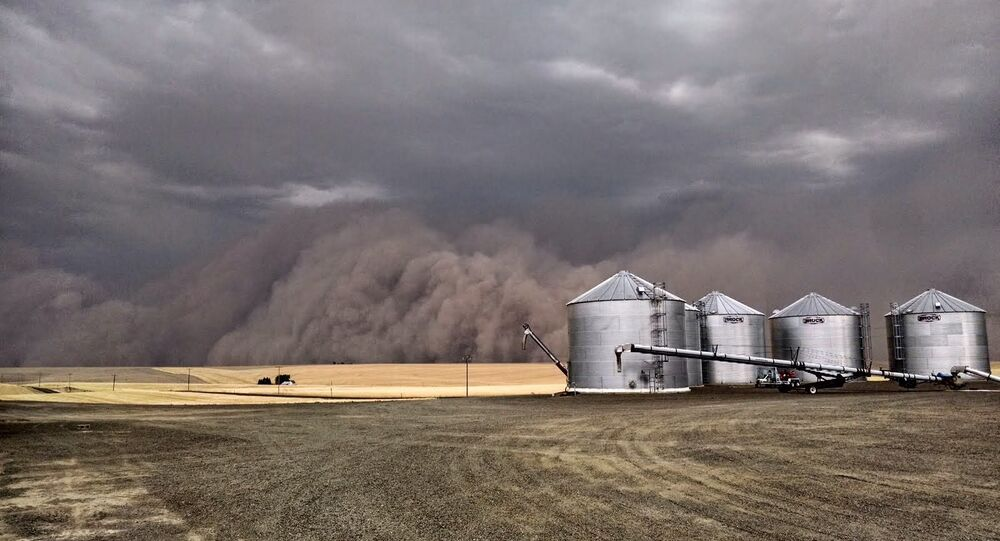 A haboob blankets a farm in the US.