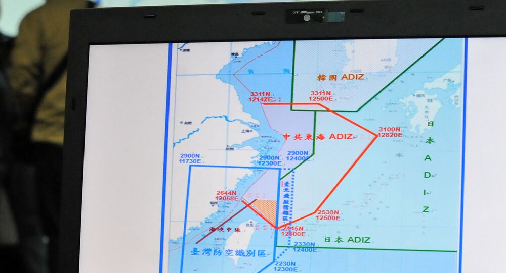 A map of Air Defence Identification Zone (ADIZ) in the East China Sea is displayed during a press conference in Taipei on December 2, 2013