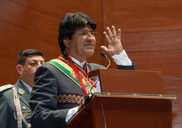 Bolivia's President Evo Morales speaks during a ceremony in Sucre, Bolivia.