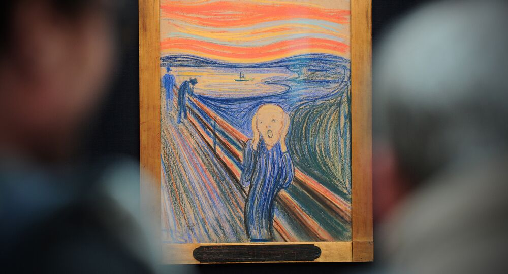 People view the Norwegian artist Edvard Munch's 1895 pastel on board work entitled 'The Scream' at Sotheby's auction house in central London on April 12, 2012