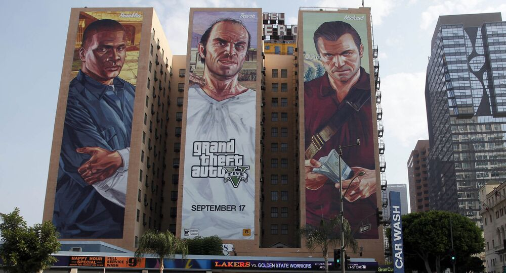 This Tuesday, Sept. 10, 2013 photo shows the Grand Theft Auto V  billboard at Figueroa Hotel in Los Angeles