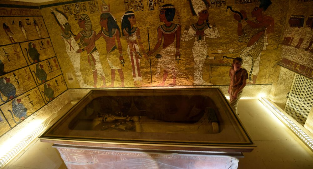 A picture taken on April 1, 2016, shows the golden sarcophagus of King Tutankhamun displayed in his burial chamber in the Valley of the Kings, close to Luxor, 500 kms south of the Egyptian capital Cairo